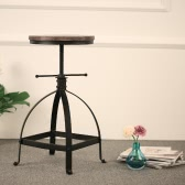 iKayaa industriellen Stil Einstellbare Höhe Swivel Küche Speisezimmer Stuhl Natur Pinewood Top Barhocker
