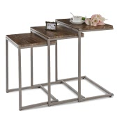 IKAYAA 3PCS Metal Frame Nesting Tables Set Sofa Couch Living Room Side End Coffee Tables Ottoman Bedroom Night Stand Home Furniture