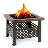 iKayaa Metal Garden Backyard Fire Pit Patio Square Firepit Stove Brazier Outdoor Fireplace W / Firepit Cover & Poker + BBQ Grill
