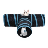 Zusammenklappbare 3-Wege-Haustiere Katze Tunnel Tube für Kätzchen Welpen Kaninchen Meerschweinchen Haustier Spielzeug mit Ball Crinkle Stoff