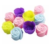 10pcs molde de pastel de silicona molde en forma de rosa herramienta de horneado de chocolate jalea y caramelo molde bandeja de jabón que hace el molde para Sugarcraft