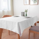Htovila 87 * 55 '' White Rectangle Dinner Tablecloth Poliéster Thick Table Paño de lino de la cubierta para el banquete de boda Inicio Festivales Eventos