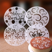 4pcs of Environmental Protection PVC Garland Template Cake Printing Stencil All Kinds of Spray Patterns in Home and Kitchen of Cooking Art