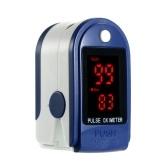 Oxymètre de pouls du doigt Moniteur de saturation en oxygène du sang avec couvercle en silicone, lanière (bleu royal)