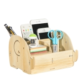 DIY Multi-functional Wooden Desktop Remote Control Storage Box Organizer Caddy Mobile Phone Pen Office Supplies Holder Container--Light Wood