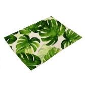 Mantel de poliéster impreso de planta verde