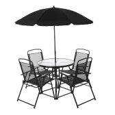 IKayaa Ensemble de meubles de salle à manger en plein air 6PCS W / Tilt Umbrella Chaises de table de salle à manger en métal en métal Folding Design