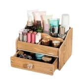 DIY Organizador de caja de almacenamiento de maquillaje de escritorio de madera Teléfono móvil Suministros de oficina Titular Contenedor con cajón - Madera clara