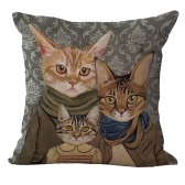 18 * 18 pulgadas / 45 * 45 cm Poliéster Cartoon Cat Cushion cubierta decorativa