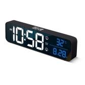Интеллектуальное голосовое управление, светодиодный цифровой будильник, дисплей температуры, настольные часы, домашний офис, украшение стола, электронные часы