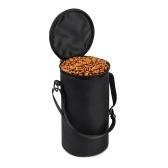 Bolsa de comida plegable con tapa, cuenco portátil plegable a prueba de fugas para mascotas, gato, cachorro