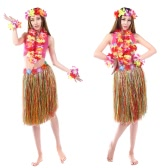 "Anself New Handmade Hawaiian Costumes 24"" Dance Kit Hawaii Hula-hula Hula Skirt 6PCS Set Women Grass Skirts"