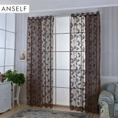 "Anself 2PCS Warp Knitting Yarn Elegant Window Door Curtains Sheer Voile Tulle for Bedroom Living Room Balcony Kitchen Hotel Decoration Jacquard Leaves Pattern Sun-shading Curtain Home Textile 39""*98"""