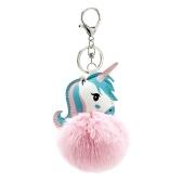 Soft Faux Fur Ball Key Chain Pompom Key Ring Handbag Purse Car Pendant Ornament Decor