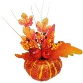 Halloween Pumpkin Decorations Artificial Lifelike Maple Leaf