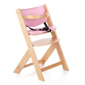 iKayaa Toddler Baby Wooden High Chair with Cushion Height Adjustable Beech Wood Highchairs for Kids Infant Feeding Dining Chair