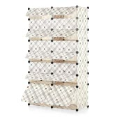 iKayaa Multi-Use 50 Pairs DIY Cube Plastic Shoes Rack 16 Grids Shoes Storage Cabinet Organizer Bookcase Water-Proof Toy Cloth Closet with Door