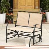 iKayaa 2 Person Patio Swing Glider Bench Chair Loveseat Textliene Garden Outdoor Rocking Chair Seating Steel Frame