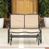 iKayaa 2 Person Terrasse Schaukel Glider Bank-Stuhl Loveseat Textliene In Gartenschaukelstuhl Sitzstahlrahmen