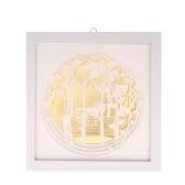 Moderne 3D Dekorative Malerei mit Rahmen Empfindliche Papier Gravur Bilderwand Wohnzimmer Wohnkultur Dekoration 24 * 24cm