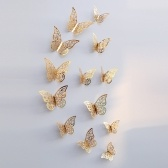 12pcs/set 3D Butterfly Wall Stickers Removable Mural Stickers DIY Art Wall Decals Decor with Glue for Bedroom Wedding Party--Gold