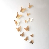 12pcs/set Vivid 3D Butterfly Wall Stickers Removable Mural Stickers DIY Art Wall Decals Decor with Glue for Bedroom Wedding Party--Gold