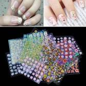 50 Blatt 3D-Mischungs Farben Blumenmuster Nagel Kunst AufkleberAbziehbilder Manicure Schöne Mode-Accessoires Dekoration