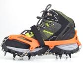 1 пара 12 зубов когтями кошки не нескользкие обувь покрытия из нержавеющей стали цепи открытый лыж льда снег Пешие прогулки восхождение оранжевый
