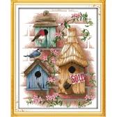 Bordado artesanal DIY contados ponto cruz bordado conjunto Kit 14CT cabana padrão atarefada 37 * 44cm decoração Home