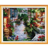 DIY Handmade Needlework Counted Cross Stitch Set Embroidery Kit 14CT Lakeside Houses Pattern Cross-Stitching 50 * 41cm Home Decoration