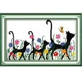 Costura hecha a mano DIY contó Cruz Set Kit CT 14 tres animales patron para bordar chaquira decoración 41 * 28cm