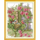 Costura hecha a mano DIY contada Cruz conjunto patrón familiar bordado Kit CT 14 aves chaquira 37 * 47cm decoración del hogar