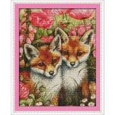 DIY Handarbeit Handarbeiten gezählt Kreuzstich Set Stickerei Kit 14CT schöne Füchse Muster Cross-Stitching 37 * 45cm Wohnaccessoires