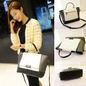 Mode Frauen OL Handtasche PU Leder Farbe Block magnetischer Knopf Tote Crossbody Messenger Tasche