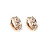 女性用の1ペアクリアクリスタルジルコン18Kゴールドメッキウェーブリーフ耳のイヤリングの宝石類のギフト
