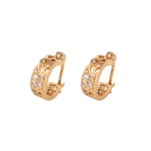 1Pair claro cristal zircão 18k Gold Plated trevo retrô Vintage oco largo Hoop brincos jóias presente para mulheres senhora