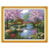 DIY Handmade Needlework contado Cross Stitch Set Kit de bordado 14CT Paisaje hermoso de patrón de parque Cruz-costura 57 * 45 cm Decoración para el hogar