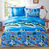 4pcs 3D Printed Bedding Set Bedclothes Underwater World Queen Size Duvet Cover+Bed Sheet+2 Pillowcases Home Textiles
