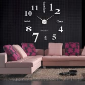 Anself Modern DIY Wall Clock Large Watch Decor Stickers Set Mirror Effect Acrylic Glass Decal Home Removable Decoration