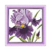 BRICOLAGE couture à la main compté point de croix broderie Set Kit 14CT fleurs violettes modèle volley 36 * 36cm décoration