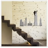 Anself Abnehmbare Wall Decal Aufkleber Tall Buildings DIY-Bilder-Kunst Decals Wandbild für Raumdekoration 60 * 90cm