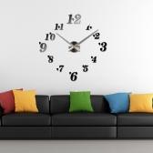 DIY Зеркальный эффект Настенные часы Простые Цифровые Акриловое стекло Декаль Набор съемного украшения дома Черный