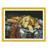DIY Handmade Needlework Counted Cross Stitch Set Embroidery Kit 14CT Faithful Dog Pattern Cross-Stitching 43 * 33cm Home Decoration