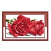 Anself ¡Hermosa!  DIY Kit de punto de cruz de algodón hecho a mano conjunto de costura contado bordado de patrón de rosas de amante cruz-costura para la decoración del hogar