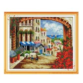 DIY Handmade Needlework Counted Cross Stitch Set Embroidery Kit 14CT Mediterranean Scenery Pattern Cross-Stitching 45 * 38cm Home Decoration