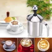 400ml ze stali nierdzewnej Frother mleka Double Mesh Milk Foamer DIY Fancy White Coffe Creamer dla Cappuccino Latte