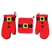3PCS Kuchenka Mikrofalowa Rękawice Rękawice z Heat-proof Pad Pad Boże Narodzenie Projektowanie Gotowanie Rękawice Pieczenia