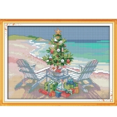 32 * 23cm DIY New Style Counted Cross Stitch Set Embroidery Needlework Kits Christmas Tree Pattern Cross Stitching Home Decoration 14CT