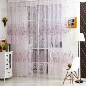Wintersweet Pattern Half Shading Curtain for Door Window Room Decoration Window Screening Pastoral Voile Curtains Bedroom Decor