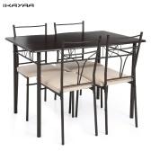 Segunda mano iKayaa 5 UNIDS Moderno Marco de Metal Comedor Sillas de Mesa de Cocina Conjunto para 4 Personas Muebles de Cocina 120 kg Capacidad de carga
